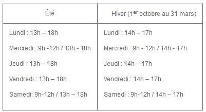 horaires de la decheterie